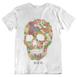 T-shirt skull flower